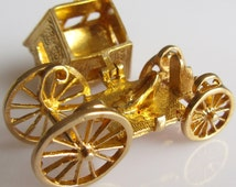 Large 9ct Cinderella Coach and Slipper Opening Charm or Pendant