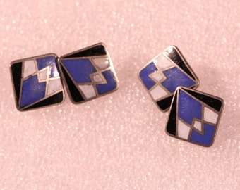 Vintage Art Deco Modernist Enamel Cufflinks Silver Plate 1930s French Accessories Birthday Gift