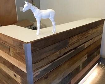 Custom Reception Reclaimed Wood Desk