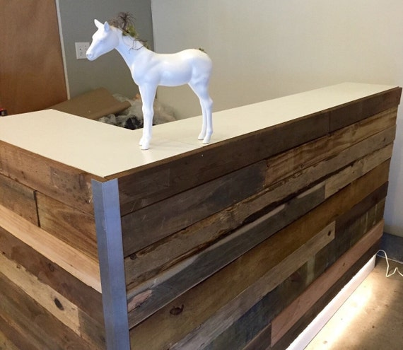 Custom Reception Reclaimed Wood Desk by UmbuzoRustic on Etsy