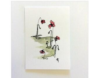 Gallipoli Poppy Flower Painting -  Poppy & Pod Flower Painting - SFA, ACEO - Fine Art Miniature- Poppy Flower Study - Gift