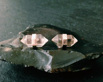 Caged Tibetan Quartz Earrings - Sterling Silver