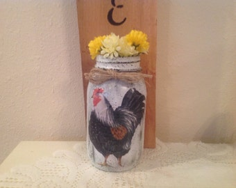 Mason Jar Decorated on Wood Shingle. Rooster Decor Housewarming Country  Home Rooster Lover Rooster Kitchen  Kitchen Decor  Home Decor.