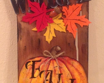 Fall Pumpkin Sign  Upcycled Wood Shingle Holiday Sign Handmade Handpainted  Pumpkin Country Home Housewarming Gift Country Decor Fall Sign