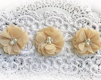 Reneabouquets Flower Set -Fall Colors - Khaki Chiffon, Pearl And Rhinestone Fabric Flowers