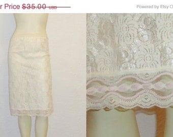 SALE Vintage Slip 50s 60s Full Lace Shimmering Ivory & Pink Half 1/2 Slip Size Small Union Made in USA