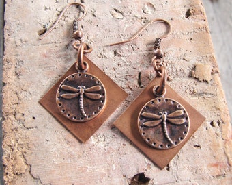 Square Copper Earrings with Antique Copper Dragonfly Charm