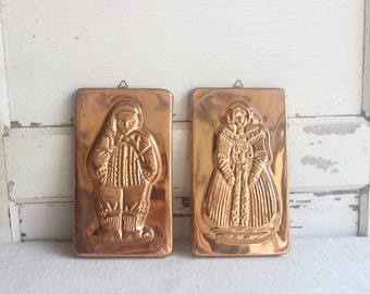 Vintage Copper Rectangle Molds Man Woman Lady Wall Decor