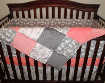 Deer Baby Girl Blanket- Gray Deer, White Gray Arrow, Coral Minky, and Gray Minky Patchwork Blanket