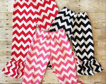 Girls Chevron Single, Double, Triple Ruffle Pants, Available in a Variety of Colors, Sizes, and Ruffled Tiers, Sz. 6m-10