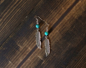 Feather Earring with round turquiose bead