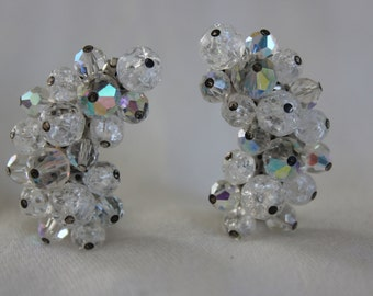 Clear Crystal Beaded Ear Climbers Clip ons