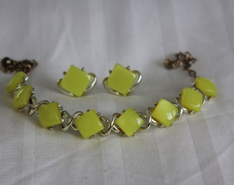 Square Yellow Thermoset Necklace and Earrings