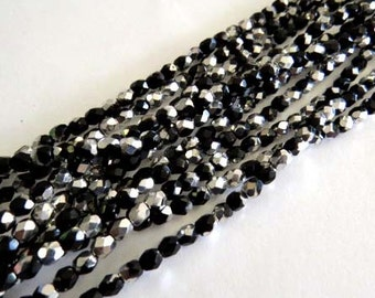 4mm Czech fire Polished 50 Beads Black Silver # 213