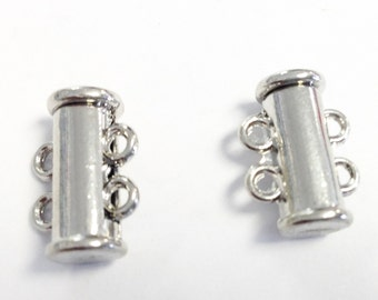 2 Strand Silver Plated slide Clasp