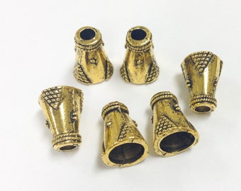 6 Gold Plated bead cones