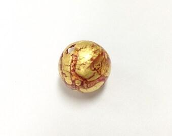 14mm gold foil Czech lamp Bead