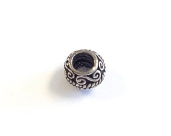 Big hole sterling silver spacer bead