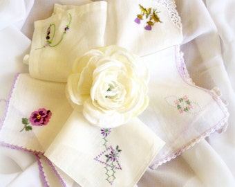 Handkerchief Set Vintage Purple Floral Hanky Vintage Lavender Wedding Handkerchief Bridesmaid Gifts Flower Girl Embroidered  (5)