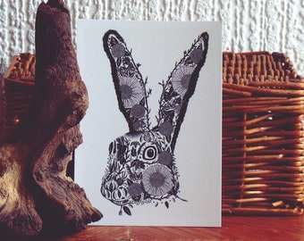 Illustrated Hare Postcard // Hare drawing // Hare Print // Woodland Animal Art // Black and White Botanical Print
