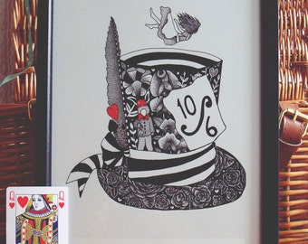 Alice in Wonderland Art Print // Mad Hatter Art Print // pen and ink drawing // Lewis Carroll Art // Alice wall art // Literature Art