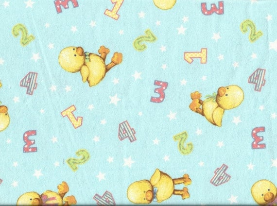Nursery duck print flannel fat quarter fabric for Nursery print fabric