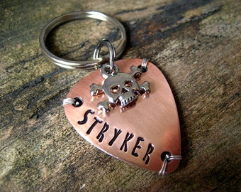 Unique Pet Id Tag - Guitar Pick Pet Tag - Pet Id Tag - Copper Pet Tag - Skull Charm - Wire Wrap - Aluminum Backer