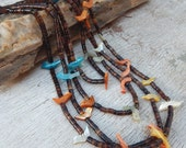 Vintage Bird Fetish and Tortoise Shell Heishi 4 Strand Necklace  --  Native American Made Necklace  --  1960s or 1970s Necklace