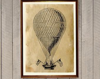 Air balloon poster Retro home decor Vintage print AK869