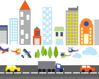 wall decals- Kids wall decals- city decal-  buildings decal-  vinyl wall decal-- nursery wall decals car truck road