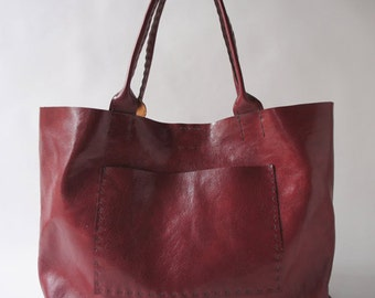 Belleville Tote - Available in two sizes - Italian Leather - Red