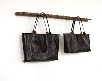 SALE - Belleville Tote - Available in two sizes - Italian Leather - Dark roast - 40% OFF