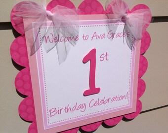 First Birthday Door Sign Hot Medium and Light Pink