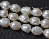Good Quality Baroque pearl Large Hole Freshwater Pearl Potato White Loose Beads Necklace 9.5-10mm 14.9 inches Full Strand Item No : PL3053