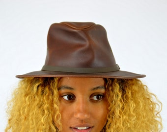 Vintage Leather Outback Henschel Hat Co Rangers Hat size Small
