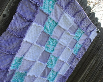 Super Sweet Lavender/Purple, Aqua/mint & White Rag Quilt/Blanket! Perfect baby shower gift, striking girl nursery crib bedding/quilt