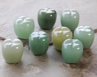 13mm Natural Green Aventurine Gemstone Apple Pendants - Half Drilled, 2 PC (INDOC254)
