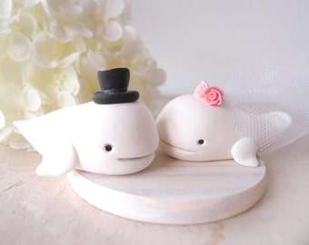 Custom Wedding Cake Toppers - White whale with base