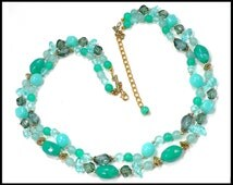 Multi Strand Green Necklace, Light Green & Jade Green Lucite with Gold Beads, 1960s Mad Men Style, Gift For Her