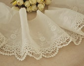 Cotton Lace Trim Embroidery Fabric Trim, Cotton Lace Trim in Ivory 2 yards