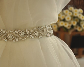Pearl and Rhinestone applique - Rhinestone Trim DIY bridal sash Wedding sash Pearl Crystal Sash Trim, Crystal applique