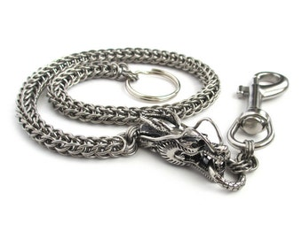 Stainless steel wallet chain with dragon head, chainmail Full Persian, men's accessories, biker wallet chain