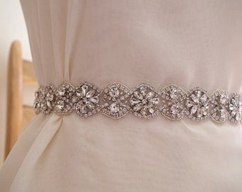 rhinestone belt, crystal sash belt, bridal sash belt trim, one yard