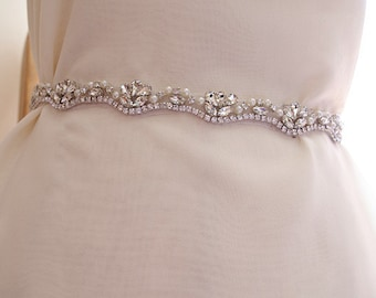 pearl and crystal sash belt, bridal sash belt trim, rhinestone sash belt