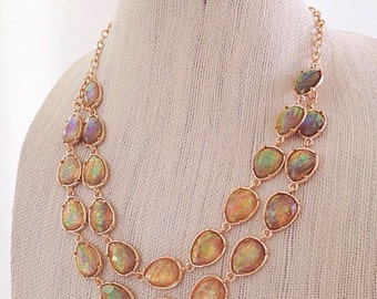 Gold Iridescent Teardrop Necklace Double Strand