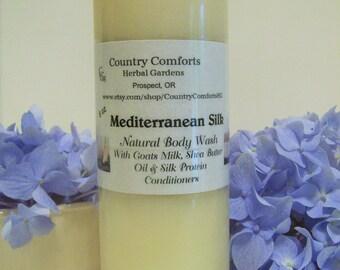 Mediterranean Silk Natural Body Wash - Goats Milk, Shea Butter Oil, Silk Protein Conditioners - 8 oz bottle