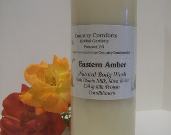Eastern Amber Natural Body Wash  - Goats Milk, Shea Butter Oil, Silk Protein Conditioners - 8 oz bottle