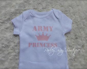 Parley Ray Custom Vinyl Army Princess Baby Girls Shirt Daddy's Girl Bodysuit