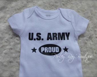 Parley Ray Custom Vinyl Army Proud Baby Girls or Boys Shirt Daddy's Girl Bodysuit