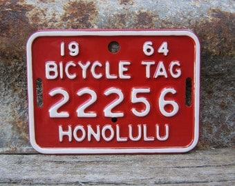 Vintage 1964 Honolulu Hawaii Bicycle License Plate Metal Tag Red & White Bike License Plate Metal 1960s 60s Era Bicycles Vtg Man Cave Sign